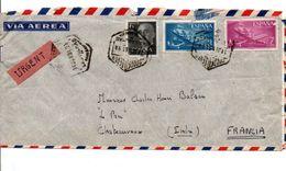 ESPAGNE AFFRANCHISSEMENT COMPOSE SUR LETTRE URGENT POUR LA FRANCE 1961 - 1961-70 Briefe U. Dokumente