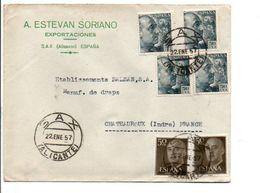 ESPAGNE AFFRANCHISSEMENT COMPOSE SUR LETTRE  POUR LA FRANCE 1957 - 1951-60 Briefe U. Dokumente