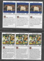 United Nations - 1989 Human Rights Articles 1 & 2 Set X 3 With Se Tenant Labels MNH - Neufs