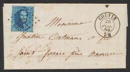 Médaillon Dentelé - N°15 Sur LAC Obl Pt 89 çàd Couvin (1865) > St-Servais (Namur). TB - 1863-1864 Medaglioni (13/16)