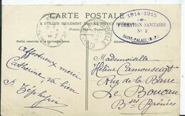 CACHET MILITAIRE - FORMATION SANITAIRE N° 2 SAINT PALAIS Sur Carte Postale +cachet Convoyeur St PALAIS A AUTEVIELLE - Marcophilie (Lettres)