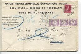 REF1629/ TP 528 S/L.U.P.E.B. Bois C.Auderghem 31/8/42 Manuscrit 6 F T 80 Gr 4 Po  > BXL Taxée 6 Frs TTx 47 Bde 3 31/8 - Portomarken