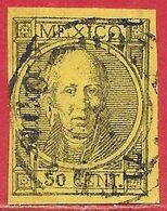 Mexique N°46aI 50c Noir Sur Jaune (type I Non Dentelé & Sans Point) 1868-72 (Mexico) O - Mexiko