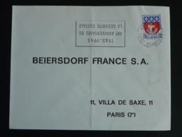44 Loire Atlantique Nantes 20 Ans Sécurité Sociale 1965 Variété Couronne Inversée - Flamme Sur Lettre Postmark On Cover - Mechanical Postmarks (Advertisement)