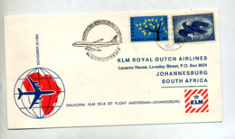 Lettre Premier Vol Klm Amsterdam Johannesburg - Avions