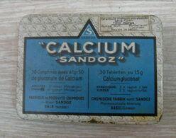 AC - CALCIUM SANDOZ VINTAGE EMPTY TIN BOX - Medical & Dental Equipment
