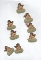 8 Petits Découpis ANGES PENSIFS Dos Vierge 3.5 X 3 Cm 164 - Angels