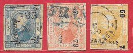 Mexique N°50 à 52  (type I) (districts De QUERETARO, MEXICO, VERACRUZ) 1872 O - Mexiko