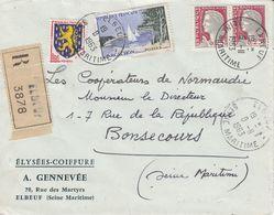 Env Reco Affr Y&T 1263 X 2 + 1312 + 1354  Obl ELBEUF Du 9.11.1963 Adressée à Bonsecours - Poststempel (Briefe)