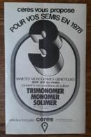 PUB 1978 Agricole Semis Trimonomer Monomer Solimer Cérès MEREVILLE Essonne 91 - Pubblicitari
