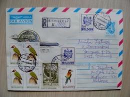 Cover From Moldova 1992 Registered Kishinev Birds Oiseaux Mixed With Ussr Stamp Child Globus Peace Paix - Moldavia