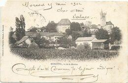 F1288 MORESTEL - LE VILLAGE VU DE LA MANINE - CIRCULÉ EN 1902 - DOS NON DIVISÉ - Morestel