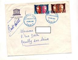 Lettre Fdc 1965 Paris Unesco + Flamme Neuilly Caisse Epargne - 1960-1969
