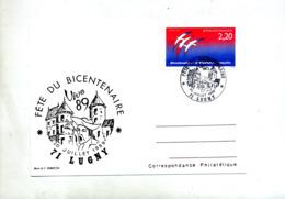 Carte Cachet Lugny Fete Bicentenaire Revolution Theme Chateau - Cachets Commémoratifs