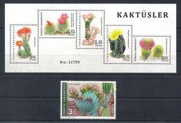 Turchia Turkey (2020) Flora Cacti Cactus - Full Set (single Stamp + Minisheet) MNH - Sukkulenten