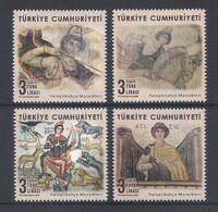 TURKEY [2020] Mosaics From Haleplibahçe Museum; Archeology - Set Of 4 Stamps (MNH) - Archeologia