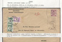 REF1639/ TP 711 S/L. Bediendenpensioenen C.Gent 1951 2,20 En Rouge > BXL Taxée 2,20 Frs TTx 33(2)-47 C.BXL 23/6/51 . - Portomarken
