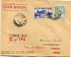 TUNISIE LETTRE RECOMMANDEE PAR AVION DEPART TUNIS 4-1-46 CHARGEMENTS POUR MALTE - Covers & Documents