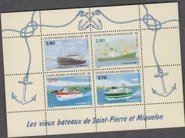 SAINT PIERRE ET MIQUELON 1 Bloc Feuillet Neuf Xx N° YT BF 4 - 1994 - Vieux Bateaux De St Pierre - Ships