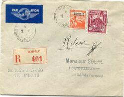 """TUNISIE LETTRE RECOMMANDEE PAR AVION AVEC CACHET """" DE TUNIS A ANKARA VIA BEYROUTH """" DEPART TUNIS 2-8-45 CHARGEMENTS..... - Lettres & Documents"""