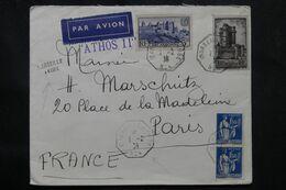 """FRANCE - Enveloppe Pour Paris En 1939, Oblitération """" Marseille à Kobe N °4 """"  + Griffe, Affr. Français -  L 68610 - Posta Marittima"""