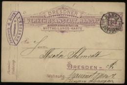 S1749 DR Private Stadtpost GS Karte Bienenkorb Gebraucht Hansa Dresden 1891. Bedarfserhaltung. - Privé
