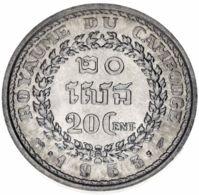 Cambodia 20 Centimes 1953 F-VF (KM # 52) - Cambogia