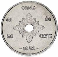Laos 50 Cents 1952 F-VF (KM # 6) - Laos