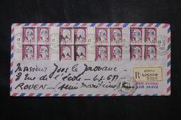 ALGÉRIE - Enveloppe En Recommandé De Mostaganem Pour Rouen En 1962, Affranchissement 16 Decaris Surchargés EA - L 68629 - Algeria (1962-...)