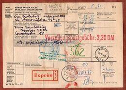 Paketkarte, Expres, Taxe Percue, Zabrze Ueber Hannover Velbert Nach Neviges 1973 (96858) - France