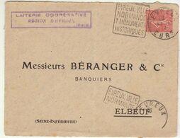 ESC (devant) 50c Semeuse O. Daguin Evreux Eure - Postmark Collection (Covers)