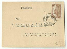 DR Infla Stegstempel BARTIN (Kr. Rummelsburg) 1922 Auf Postkarte Nach Braunschweig - Germania