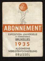 Exposition Universelle Bruxelles / Wereldtentoonstelling Brussel 1935 Abonnement - Enfant - Georges DELANDTSHEER - Tickets - Entradas