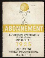 Exposition Universelle Bruxelles / Wereldtentoonstelling Brussel 1935 Abonnement - Gaston DELANDTSHEER - Tickets - Entradas