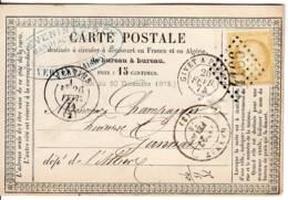 VERVINS 02 Aisne Type 17 GC  4166 1874 Ceres 15c YT 59 Tarif Carte Ambulant Jour GIVET A PARIS Typ 17 GANNAT Allier - Poststempel (Briefe)