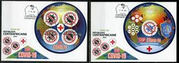 Centrafrica 2020, Against Covid, Red Cross, 4val +BF In 2FDC - Maladies