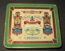 Boîte Ancienne - 20 Cigarettes EGYPTICA - Egyptian Cigarettes Manufactury KYRIAZI Frères - 6 Scans - Boites à Tabac Vides