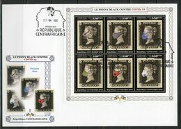 Centrafrica 2020, Against Covid, Penny Black, 6val In BF In FDC - Maladies