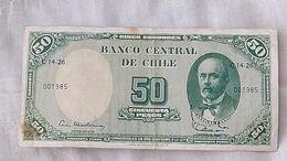 Billet Banknote  Chile 50 Pesos 5 Centesimos Escudo Paper Money #16 - Cile