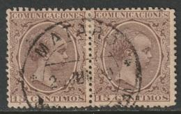 Spain 1889 Sc 261 Ed 219 Pair Used Mataro CDS - Gebraucht