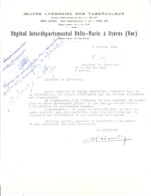 OEUVRE LYONNAISE DES TUBERCULEUX -HOPITAL INTERDEPARTEMENTAL HELIO-MARIN A HYERES VAR COURRIER  1945 - 1900 – 1949