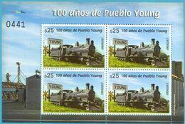 Uruguay 2020 ** MP 4 Sellos Centenario De Pueblo Young. Estación De Ferrocarril. Locomotora. - Trenes