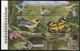 2008 Brazil Serra Do Japi Nature Reserve: Tanager, Tiger Leafwing Butterfly Minisheet (** / MNH / UMM) - Passereaux