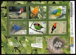 2009 Brazil BIRDPEX/LUBRAPEX: Exuberant Birds Minisheet (** / MNH / UMM) - Passereaux