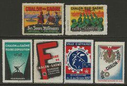 France C.1930 Vignettes Chalon-sur-Saône, Bourgogne 6 Diff. Neufs Sans Charnière - Otros