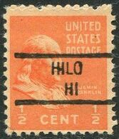 USA Territory Of Hawaii Local Precancel HILO ½ C. Prexie Vorausentwertung Timbre Préoblitéré - Hawaii