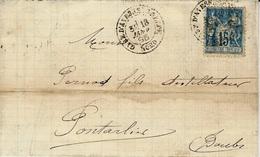 1895- Lettre De GARE D'AVESNES-S-HELPE / NORD  Cad T18  Sur 15 C Sage - 1877-1920: Periodo Semi Moderno