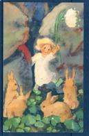 19111 Mili Weber (1891-1978 St. Moritz) Fillette Tenant Un Perce-neige (fleur) Et Quatre Lapins - Künstlerkarten