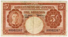 Jamaica,  5 Shillings 1955, P-37b. F+ - Giamaica
