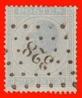 """COB N° 18 - Belle Oblitération à """"POINTS"""" 328 (St. NICOLAS) - 1865-1866 Profil Gauche"""